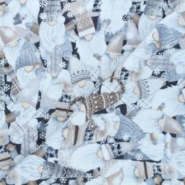 Timeless Treasures cotton fabric - black Holiday gnomes x 10cm