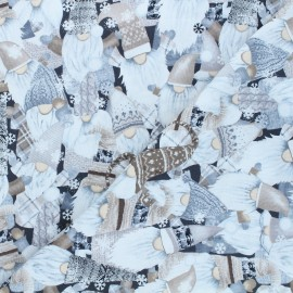 Tissu coton Timeless Treasures - Holiday gnomes - noir x 10cm