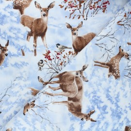 Timeless Treasures cotton fabric - white Woodland deer x 10cm