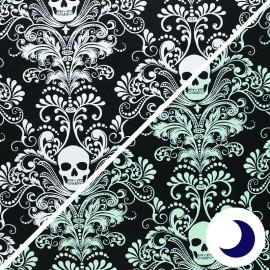 Tissu coton phosphorescent Timeless Treasures - Skull damask - noir x 10cm