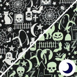 Timeless T. phosphorescent Cotton fabric - Halloween Glow x 10cm
