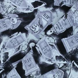 Timeless Treasures cotton fabric - black Tombstones x 10cm