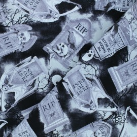 Tissu coton Timeless Treasures - Tombstones - noir x 10cm