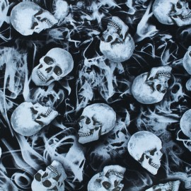 Timeless Treasures cotton fabric - black Skulls and smoke x 10cm