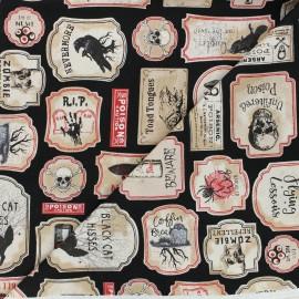 Timeless Treasures cotton fabric - black Spooky labels x 10cm