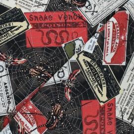 Tissu coton Timeless Treasures - Witches labels - noir x 10cm