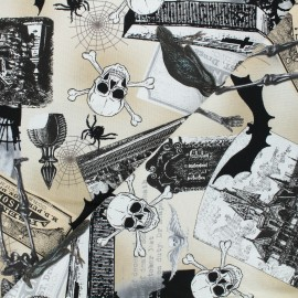 Tissu coton Timeless Treasures - Spooky collage - beige x 10cm