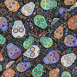 Timeless Treasures cotton fabric - black Mardi gras x 10cm