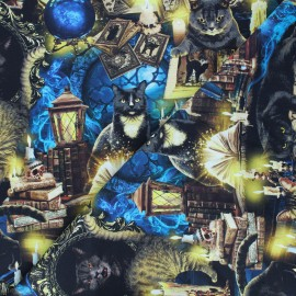 Timeless Treasures cotton fabric - blue Mystical cats x 10cm