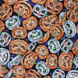 Timeless Treasures cotton fabric - black Scary pumpkins x 10cm