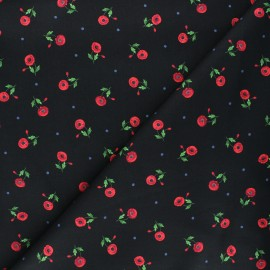 Timeless Treasures cotton fabric - black Small red poppies x 10cm