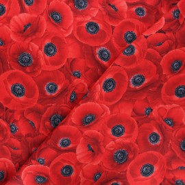 Timeless Treasures cotton fabric - black Packed red poppies x 10cm