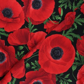 Timeless Treasures cotton fabric - black Main red poppies x 10cm