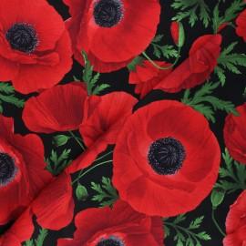Tissu coton Timeless Treasures - Main red poppies - noir x 10cm