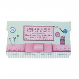Set of 60 sewing needles + 1 needle threader - pink Vintage