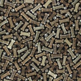 Timeless Treasures cotton fabric - black Dog bones x 10cm