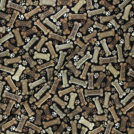 Tissu coton Timeless Treasures - Dog bones - noir x 10cm