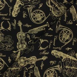 Timeless Treasures cotton fabric - black Instruments x 10cm