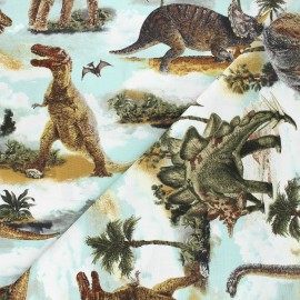 Tissu coton Timeless Treasures - Realistic dinos - bleu x 10cm
