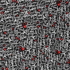 Timeless Treasures cotton fabric - black Parisian words x 10cm