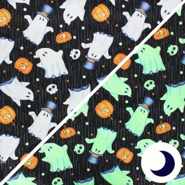 Phosphorescent cotton fabric Glow ghosts - black Ghosts x 10cm
