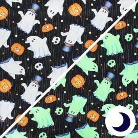 Tissu coton phosphorescent Glow ghosts - Ghosts - noir x 10cm