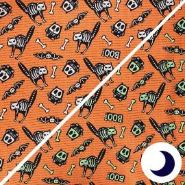 Tissu coton phosphorescent Glow ghosts - Bones - orange x 10cm