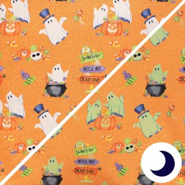 Phosphorescent cotton fabric Glow ghosts - orange Ghosts, pumpkins and candy x 10cm