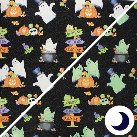 Phosphorescent cotton fabric Glow ghosts - black Ghosts, pumpkins and candy x 10cm