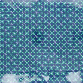 Petit Pan coated cotton fabric - deep blue Satellite of love x 10cm