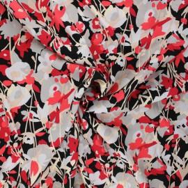 Twill viscose fabric - black Flowy x 10 cm