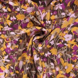 Twill viscose fabric - brown Flowy x 10 cm