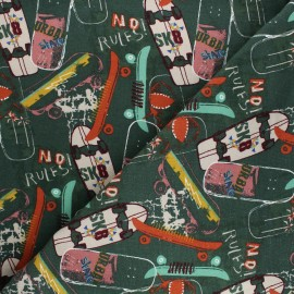 Poppy Sweatshirt cotton fabric - green Animal skin x 10cm
