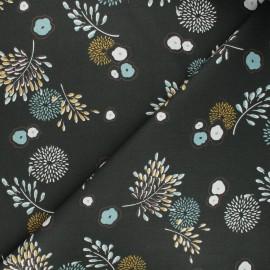 Tissu coton cretonne Chazine - vert foncé x 10cm