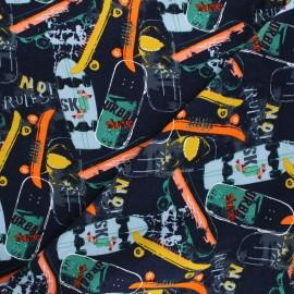 Poppy Sweatshirt cotton fabric - navy blue Skateboards x 10cm