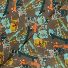 Tissu sweat Poppy Skateboards - bleu marine x 10cm