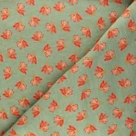 Poppy Sweatshirt fabric - green Fantasy Flowers x 10cm