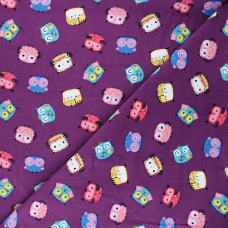 Milleraies velvet fabric - purple Funny birdy x 10cm