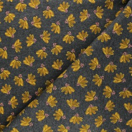 Poppy Sweatshirt fabric - mottled grey Fantasy Flowers x 10cm