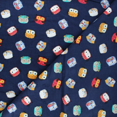 Milleraies velvet fabric - blue Funny birdy x 10cm
