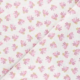 Poppy Sweatshirt fabric - mottled off-white Fantasy Flowers x 10cm