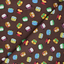 Tissu velours milleraies Funny birdy - marron x 10cm