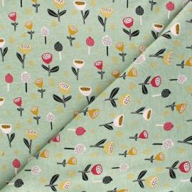 Poppy Sweatshirt fabric - green Fantasy Flowers B x 10cm