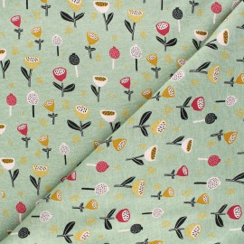 Tissu sweat Poppy Fantasy Flowers B - vert x 10cm