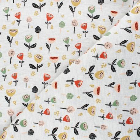 Tissu sweat Poppy Fantasy Flowers B - écru chiné x 10cm