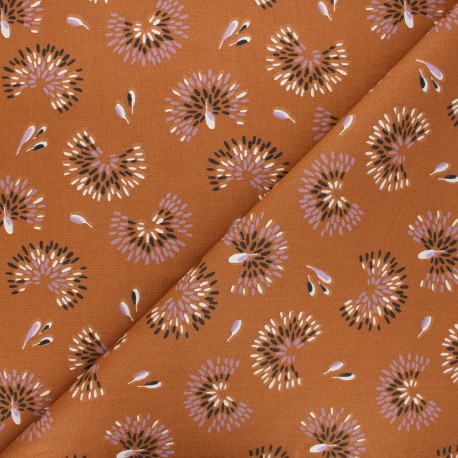 Cretonne cotton fabric - cinnamon brown Roami x 10cm