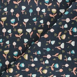 Tissu sweat Poppy Fantasy Flowers B - bleu chiné x 10cm