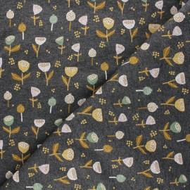 Tissu sweat Poppy Fantasy Flowers B - gris chiné x 10cm