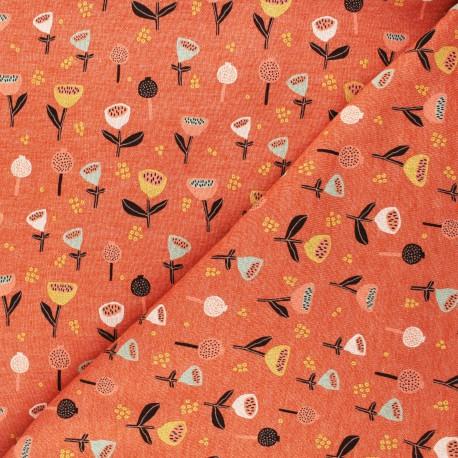 Poppy Sweatshirt fabric - mottled orange Fantasy Flowers B x 10cm