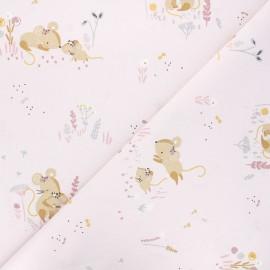 Cretonne cotton fabric - light pink Minissou x 10cm